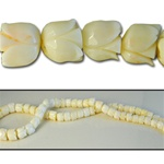 Wholesale Coral Beads Genuine white coral, carved tulip beads, 5mm-10mm, sold by the strand, (64 beads per strand).