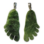 "Genuine Jade Foot Pendant Carved genuine jade foot pendant. 1/2"" x 1 5/8"". (1 dozen minimum)"