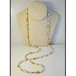 "Wholesale Pearl & Gold Bead Necklace Elegant gold filigree bead & pearl necklace 40""."