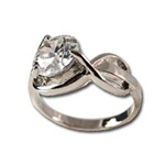 Lady's High Quality Cubic Zirconia Rings</B><br>Silver Plated Ring with Crystal Stone