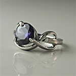 Lady's High Quality Cubic Zirconia Rings Silver Plated Ring with Round Amethyst CZ Stone. L200A