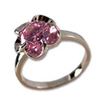 Lady's High Quality Cubic Zirconia Rings</B><br>Silver Plated Flower Ring with Pink Stone