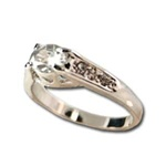Lady's High Quality Cubic Zirconia Rings</B><br>Silver Plated Ring with Crystal Stone and Side Accents