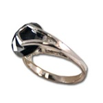 Lady's High Quality Cubic Zirconia Rings</B><br>Silver Plated Ring with Jet Stone