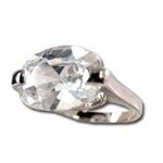 Lady's High Quality Cubic Zirconia Rings</B><br>Silver Plated Cocktail Ring with Lg Center Stone