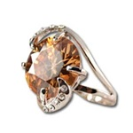 Lady's High Quality Cubic Zirconia Rings, Silver Plated Cocktail Ring with Lg Amber Center Stone and Crystal Accents