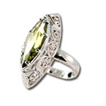 Lady's High Quality Cubic Zirconia Rings</B><br>Silver Plated Cocktail Ring with Lg Light Peridot CZ and Filigree Setting. L304
