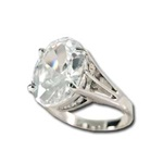 Lady's High Quality Cubic Zirconia Rings</B><br>Silver Plated Cocktail Ring with Lg Light Peridot CZ and Filigree Setting. L305