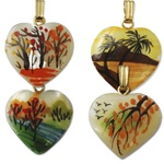 Genuine Mother of Pearl hand painted pendants