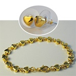 Wholesale Heart Earring & Bracelet Charming gold plated heart bracelet and matching earrings, 8mm.
