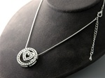 "Crystal Heart in Circle Slide Neck on 18"" Snake Chain with 2"" Extender"