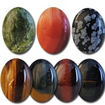 Wholesale Oval Semi Precious Stone Cabochon - 30x22mm, available in Jade, Red Jasper, Leopard Spot Obsidian, Tiger Eye, Multi Tiger Eye, Maroon Tiger Eye & Blue Tiger Eye.
