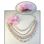 Wholesale Pink Multistrand Necklace & Pin Beautiful bead and chain necklace 14