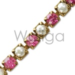 Rhinestone Chain Rose and Pearl