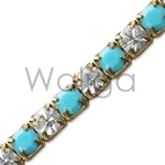 Rhinestone Chain  Turquoise and Crystal