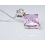 Diamond Cut Rose Stone and Heart Pendant