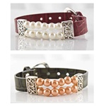 Leather Buckle Bracelet with Pearls