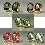 Assorted Oval Crystal Clip Earrings