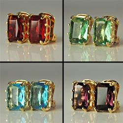 Assorted Octagon Crystal Clip Earrings