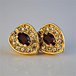 Wholesale Ruby & Crystal Heart Earrings