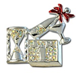 "AB Rhinestone Party Pin Jan 1st party pin, 2""x2"""