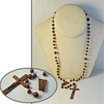 "Wholesale Rosary Pendant Necklace Cross pendant is 1 x 2 1/2"" brown plastic. Min. order is 12 pcs."