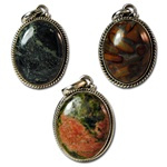 Sterling Silver Genuine Jasper Pendants