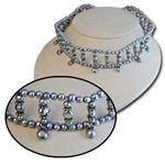 Genuine Sterling Silver Gray Pearl Choker Necklace