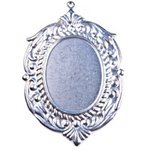 Filigree Finding Earring Pendant Setting for 40X30 Oval- Raw Steel Stamping