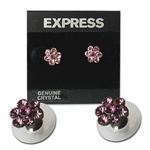 Pink Crystal and flower Earrings