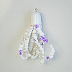 "Wholesale Seed Bead Tassel - White & amethyst seed beads on 5 strands, 2"" (12 pcs minimum )"