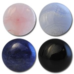 Wholesale Round Semi Precious Stone Cabochon - 11.5mm, available in Rose Quartz, Blue Lace Agate, Blue Sodalite & Black Onyx.