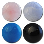 Wholesale Round Semi Precious Stone Cabochon - 11.5mm, available in Rose Quartz, Blue Lace Agate, Turquoise & Black Onyx.