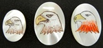Vintage, Oval Mother of Pearl Scrimshaw, Red Eagle, Brown Eagle