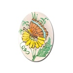 Vintage, Oval Mother of Pearl Scrimshaw, Butterfly & Flower