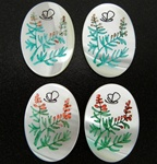 Vintage Oval Mother of Pearl Scrimshaw Fern and Butterfly