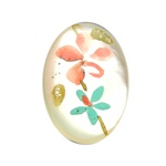 Vintage Oval Mother of Pearl Scrimshaw Peach and Aqua Flowers