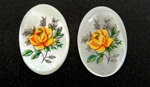 Vintage Oval Mother of Pearl Scrimshaw Yellow Rose