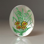 Vintage, Oval Mother of Pearl Scrimshaw, Sunflower