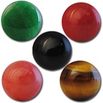 Wholesale Round Semi Precious Stone Cabochon - 13mm, available in (Jade + $1.00), Red Agate, Black Onyx, (Salmon +$1.00) Tiger Eye.