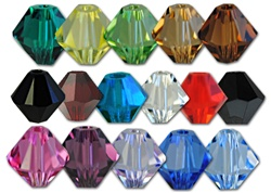 Swarovski Art. 5301 Bicone Crystal Bead - 4mm- Available in 16 colors, emerald, jonquil, peridot, lt. colorado topaz, smoked topaz, jet, siam, capri blue, crystal, hyacinth, jet hematite, rose, amethyst, violet, sapphire & lt. sapphire.