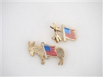Americana Donkey and Small Donkey with Flag Pins