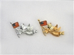 Americana Matted Silver and Gold Angel with Flag Pins