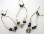 Beaded Cord Bracelets in Black/Ivory, 3 Assorted Styles