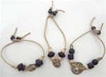 Beaded Cord Bracelets in Navy/Ivory, 3 Assorted Styles