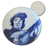 Genuine Vintage Blue Delft  Charming lute player stone, 25mm.