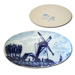 Genuine Vintage Blue Delft Charming windmill scene oval stone, 32x17mm.