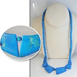 "Synthetic Turquoise Necklace with 1"" -1 1/2"" 8mm Turquoise Beads, 24"" long.  CG340"