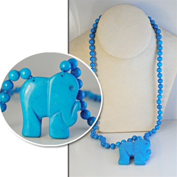 4a6572974 Wholesale Beautiful Synthetic Turquoise Elephant Pendant Necklace. Elephant  Pendant 1 3/4