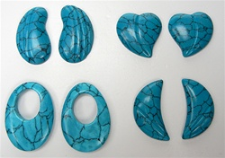 Simulated Turquoise Earring Parts, half drilled